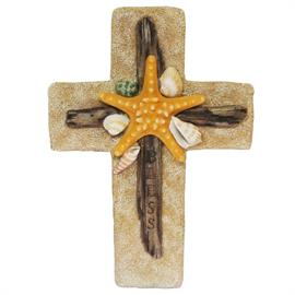 "8""x11"" cross decorated with a starfish, driftwood, and seashells. A charming gift for any beach house or beach lover."
