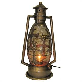 "8""x5.75""x15.25"" Bronze colored electric lantern decorated with crosses. Made of metal. Classic rustic look."