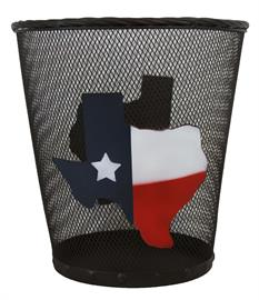 "10""x10.5"" wire basket with the Texas flag overlaying an outline of the state. Perfect for any proud Texan's home."