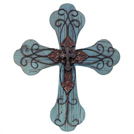"21""x25"" large blue wood cross with metal scrolls. Perfect for any country home with an excellent rustic finish."