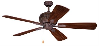 This modern yet rustic fan called the Alpine provides a modern twist to a classic look.   The weathered patina finish is ideal with any décor to gie it a rustic feel. The woodsy appeal is just part of the overall charm of this fan.  Not overpowering but a simple decor can bring charm to your decor.