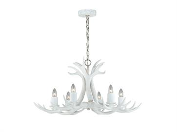 Designed with an eye on natural and organic elements (and a definite nod to your favorite ski lodge), this Antler reproduction chandelier from the Vail Collection fits both modern and rustic interiors. The white finish with polished nickel elements are perfect for the natural retreat that is your home. The collection is the ideal style for dining or living rooms.