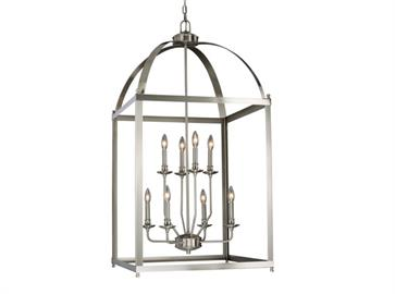 Modeled after a traditional lantern-style design, the Juliet Collection merges the past with the present, featuring a satin nickel finish and candelabra bulbs for an  elegantly modern appeal. Ideal fixtures for any home, this collection, vertically designed like the lanterns of yore, illuminates any foyer or grand entryway (and is ideal for a 2-story foyer), dining room, kitchen, living room, or vaulted ceiling, without making too bold a statement. It is a perfect addition to any transitional home, where