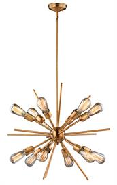 Mid Century meets modern times with this timeless and uniquely artistic sputnik pendant from the Estelle Collection. It features twelve arms to fit twelve exposed bulbs, adding elegance and drama to your dining room, living room, foyer, kitchen, or bedroom. Available in Natural Brass and Nickel finishes.