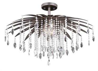 "This 24"" crystal semi-flush mount from the Etrienne collection is sure to satisfy the need for sparkle without sacrificing light.  This is one of our Wide-Shallow series designed specifically for low ceilings spaces where a typical chandelier or pendant are not feasible."