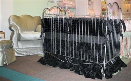 Fabulous Black Silk Bedding Set on Wrought Iron Polished Steel Crib with Silver Swivel Rocker/Glider. Custom Bedding Available For Cribs, Cradles & All Size Beds