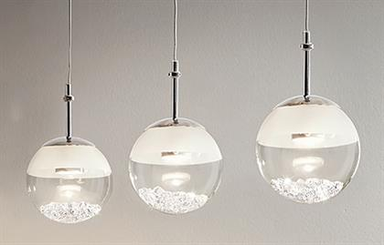 3x4.4W LED Multi Light Pendant w/ Chrome Finish & White & Clear Glass w/ Clear Crystals