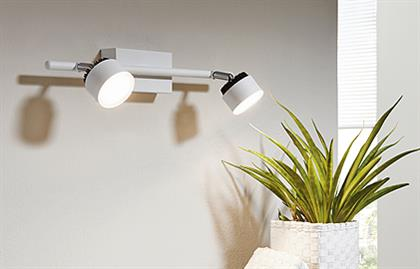 2x6.7W LED Track Light w/ White & Black Finish