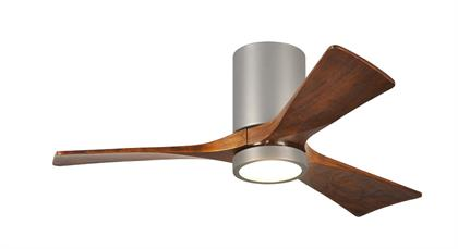 Cutting a figure like no other, the Irene-3HLK rodless-style fan is rustic, yet strikingly modern with neatly joined solid walnut-stained wooden blades.  A cylindrical motor housing complements its minimal profiles.  The Irene line of fans are streamline while appearing warm and natural and now come with a light kit.