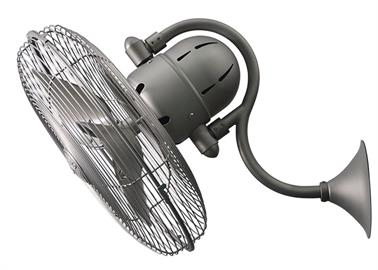 The Laura 3-speed, left-to-right 90 degree oscillating wall fan offers the best in function. Its patented design boasts a whisper-quiet DC motor, remote control operation and easy 2-wire installation.  Compact and powerful, Laura can be mounted in small, awkward spaces or in front of HVAC ducts to improve the efficiency of heating, ventilation or air conditioning. Constructed of cast aluminum and heavy stamped steel, Laura carries a limited lifetime warranty.