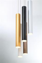 12-sided anodized aluminum finish for a unique finish that fuses the color within the metal. Texturized detail throughout the body. The slender light fixture is great on its own or as a collective cluster for a dynamic design.
