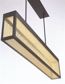 Golden mesh wiring encloses a top LED panel, featuring full textured sheets on all 5 sides. The caged design, accented by solid black trim creates high contrast between the two colors. Options include hanging and wall lights.