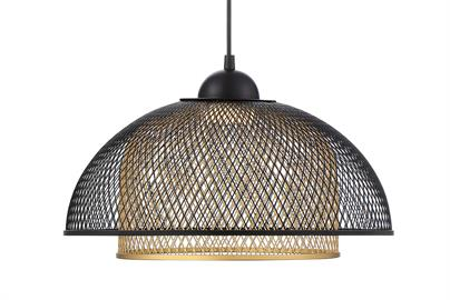 A mesh dome hangs from a single rod, shaping dazzling light patterns across your walls. Quietly unwind with added cozy ambiance thanks to its retro design elements.
