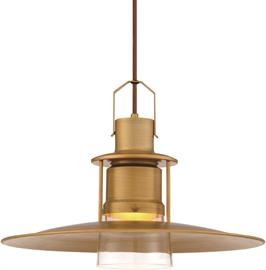 Inspired by vintage mining lanterns, the brushed texture offers an antique effect. Rich colors and aged quality transforms this enchanting time-piece into a refined pendant, perfect for entertaining. Retro style with a modern touch, this pendant features LED lighting, a perfect way to update an age-old piece.