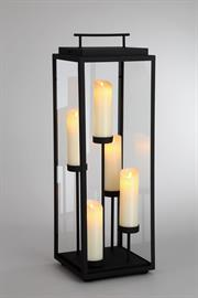 Simulated flickering candles made with real wax integrate a traditional look and style with modern technology. This contemporary piece provides hours of illumination that can be operated by remote control.  A portable design allows flexibility in where it's used and can contribute to a romantic ambiance.