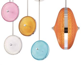 Bright, candy colored honeycomb glass in a radial design creates a playful environment. Like a lollipop, this pendant is a sweet treat to playful modern décor, adding vivacious sparkle with pops of color. Perfect as a solo act or in a cluster for dynamic design.