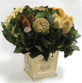 Wooden Mini Square Planter w/Inset Weathered Antique - Thistle Brown & Natural, Lotus Pods, Hydrangea Ivory & Lt. Brown