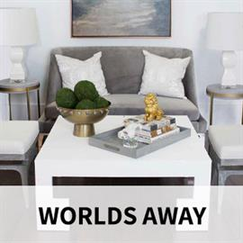 Worlds Away designs transitional stunning home accents, combining modern elements with timeless finishes. Product categories include dressers, tables, seating, mirrors, lighting, and more.