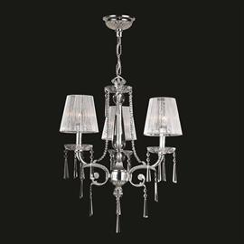 "D20"" x H25"", (3) candelabra bulbs, 60w max.  Polished chrome metal finish.  30% full leaded crystal."