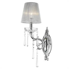 "W6"" x H18"" x E9"", (1) candelabra bulb, 60w max.  Polished chrome metal finish, 30% full leaded crystal."