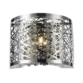 "W8"" x H6"" x E4"", (1) G9 bulb (halogen or LED),  Polished chrome metal finish, 30% full leaded crystal."