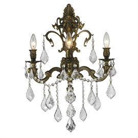 "W17"" x H24"", (3) E12 candelabra bulbs, 40w max. Antique bronze finish, 30% full leaded crystal"
