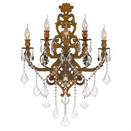 "W22"" x H32"" E15"", (5) E12 candelabra, 40w max. French gold metal finish, 30% full leaded crystal."