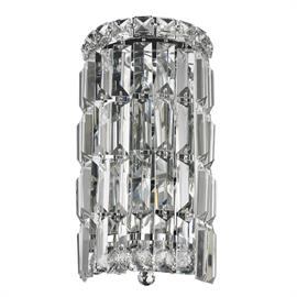 "W6"" x H12"" x E4"", (2) candelabra bulbs, 60w max.  Polished chrome metal finish, 30% full leaded crystal.  ADA compliant."