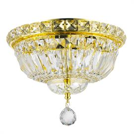 "D10"" x H8"", (4) candelabra bulbs, 60w max.  Polished gold metal finish, 20% fully leaded crystal."