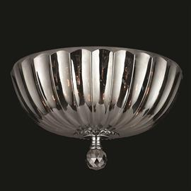 "D14"" x H7"", (4) candelabra bulbs, 60w max.  Polished chrome metal finish, 30% full leaded crystal."