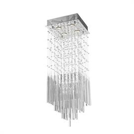 "L12"" x W12"" H36"", (4) GU10 bulbs (halogen or LED),  polished chrome metal finish, 30% fully leaded crystal."