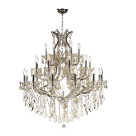 "D38"" x H42"", (28) E12 candelabra bulbs, 40w max.  Polished chrome metal finish, 30% full leaded crystal."