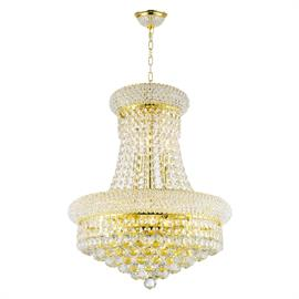 "D16"" x H20"", (8) E12 candelabra bulbs, 60w max.  Polished gold metal finish, 30% fully leaded crystal."
