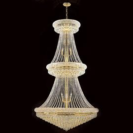 "D42"" x H72"", (38) E12 candelabra bulbs, 40w max. Polished gold finish, 30% full leaded crystal."