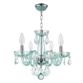 "D16"" x H12"", (4) candelabra bulbs, 60w max.  Polished chrome metal finish, 30% full leaded crystal."