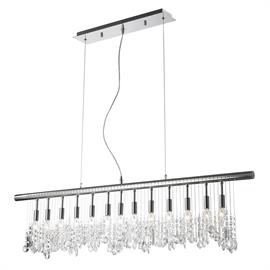 "L48"" x H10"", (13) E12 candelabra, 40w max. Polished chrome metal finish, 30% full leaded crystal."
