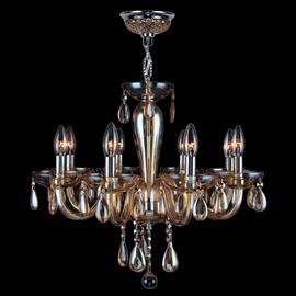 "D22"" x H19"", (8) candelabra bulbs, 60w max.  Polished chrome metal finish, 30% full leaded crystal."