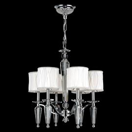 "D22"" x H23"", (6) candelabra bulbs, 60w max.  Polished chrome metal finish, 30% full leaded crystal."