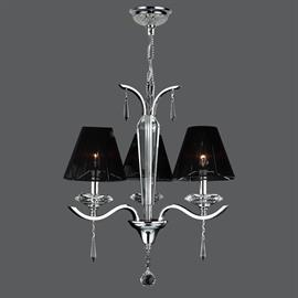 "D20"" x H23"", (3) candelabra bulbs, 60w max.  Polished chrome metal finish, 30% full leaded crystal."