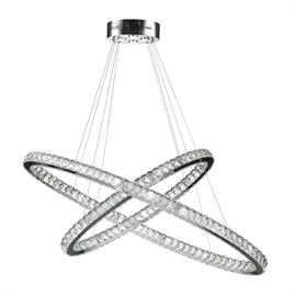 "D48"" x 20"" H2"", (30) LED bulbs, 3000K / 1W ea.  Polished chrome metal finish, 30% full leaded crystal."