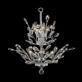 "D21"" x H22"", (8) candelabra bulbs, 60w max.  Polished chrome metal finish, 30% full leaded crystal."