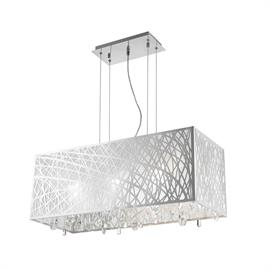 "L29"" x W12"" H11"", (6) G9 bulbs (halogen or LED), Polished chrome metal finish, 30% full leaded crystal."