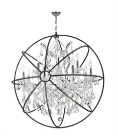 "D33"" x H35"", (13) E12 candelabra bulbs, 60w max.  Polished chrome metal finish w/ flemish brass cage, 30% full leaded crystal"