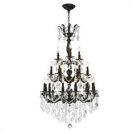 "D29"" x H50"", (21) E12 candelabra bulbs, 40w max.  Flemish brass metal finish; 30% full leaded crystal."
