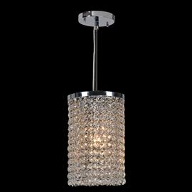 "D6"" x H10"",(1) candelabra bulb, 60w max.  Polished chrome metal finish, 30% full leaded crystal."