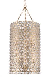 The Vita  Collection  features  a  precision Laser Cut Steel Frame with delicately pinned glass balls in a plated Brushed Champagne Gold  (038)  finish