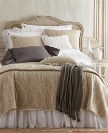 "Fiona Cotton Voile Bedspread with frayed edging and hand-tufted quilted top, has ruffled 30"" drop on three sides for a romantic look.  Shown with Paige ""Aari"" embroidered linen quilt."