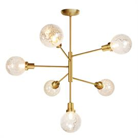 Fun Retro chandelier available in Black or Brushed Brass.