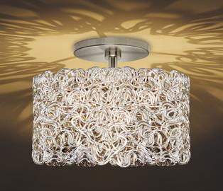 Part of the Dazzle collection, the Spaga ceiling is available in 2 sizes with complimentary pendants and wall sconces.  The Spaga comes in Silver or Gold with Bronze, Polished Gold, Polished Nickel or Satin Nickel hardware.