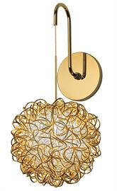 Part of the Dazzle family, the Kurly is available in a wall sconce and pendant.  There are two options of finishes: Polished Gold interior with Polished Silver exterior or Polished Gold exterior with Polished Silver interior.  Bronze, Polished Gold, Polished Nickel and Satin Nickel hardware options are available.